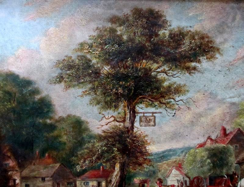 English Country Inn Scene with Figures and Horses, oil on canvas, unsigned, c1850.