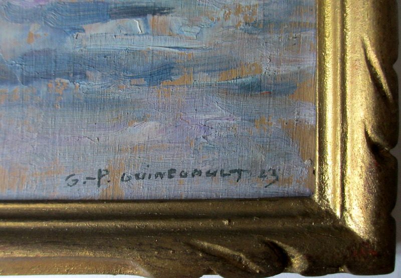 Soir Quiberon Bretagne, gouache on panel, signed G.- P. Guinegault 23. Detail. Signature.