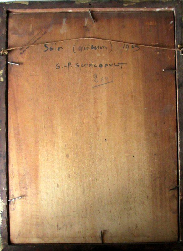 Soir Quiberon Bretagne, gouache on panel, signed G.- P. Guinegault 23. Detail. Frame, verso.