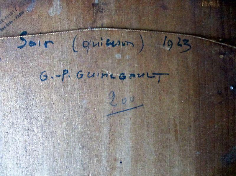 Soir Quiberon Bretagne, gouache on panel, signed G.- P. Guinegault 23. Detail. Frame, verso, handscript.