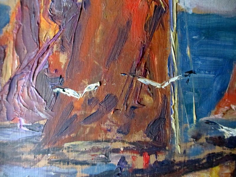 Soir Quiberon Bretagne, gouache on panel, signed G.- P. Guinegault 23. Detail.