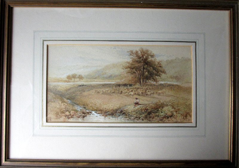 Pastoral Landscape Scene, watercolour, signed in monogram WSS (Warren Sophy) monogram WSS. c1870.