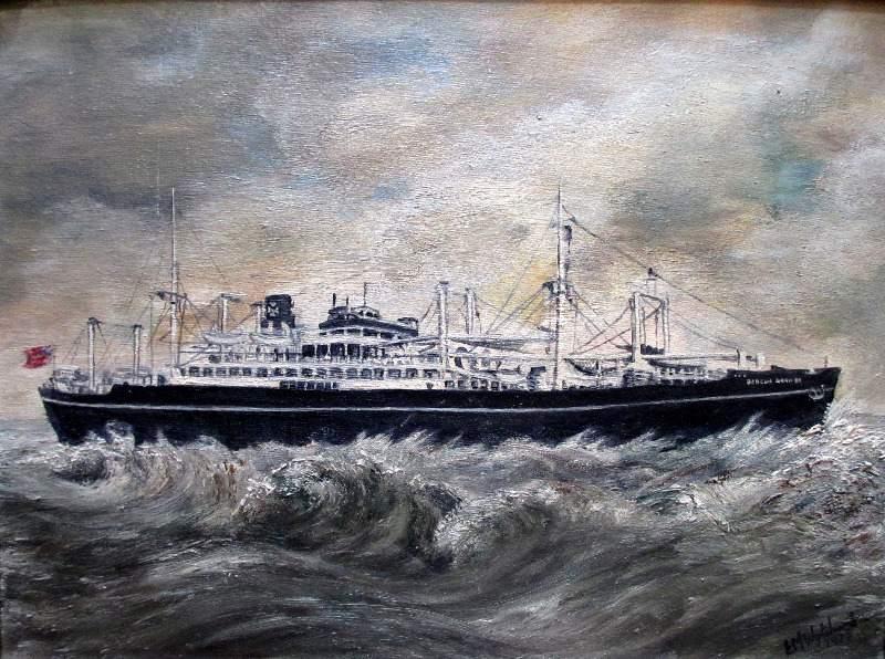 mv Beacon Grange, oil on board, signed EM Whytchard 1975.