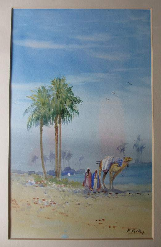 Arabian Landscape with Figures, watercolour and gouache on paper, signed F. Varley. c1905.