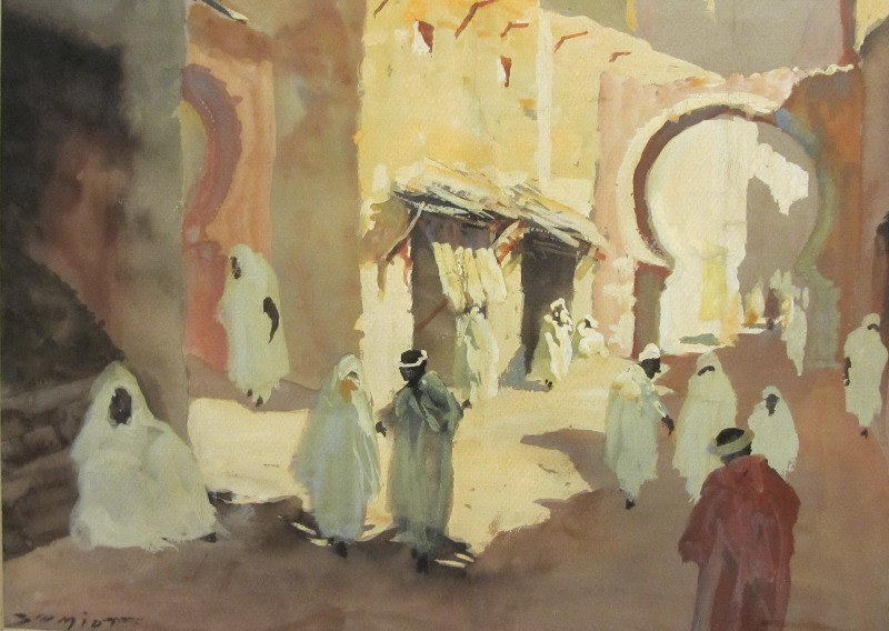 North African Street Scene, watercolour and gouache on paper, signed Schmidt. c1930. Framed, unglazed. Detail.