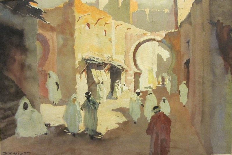 North African Street Scene, watercolour and gouache on paper, signed Schmidt. c1930. Framed, unglazed.