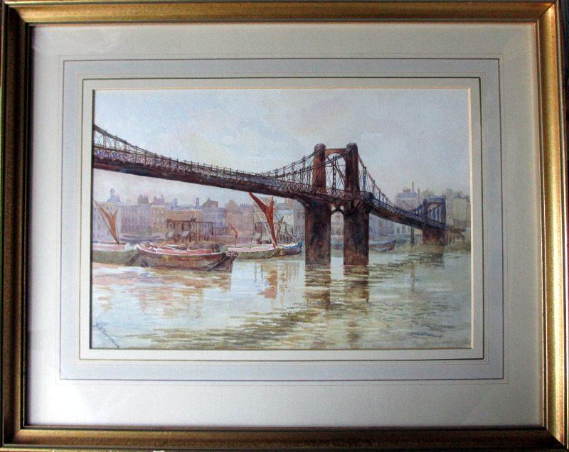 Old Lambeth Suspension Bridge, watercolour on paper, signed A.B. Furneaux. c1910.