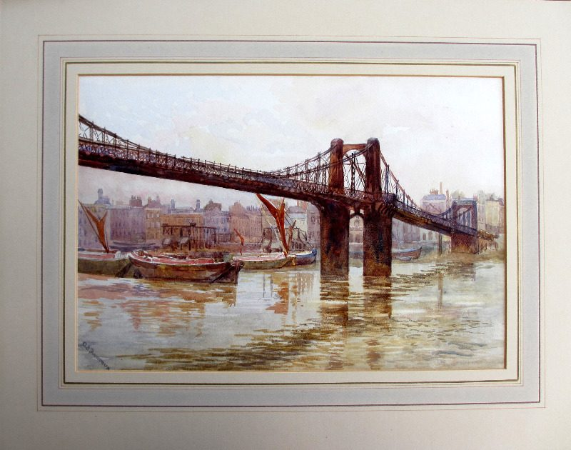 Old Lambeth Suspension Bridge, watercolour on paper, signed A.B. Furneaux. c1910. Detail.