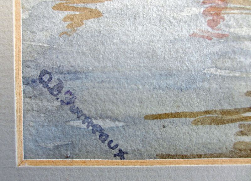 Old Lambeth Suspension Bridge, watercolour on paper, signed A.B. Furneaux. c1910. Detail. Signature.