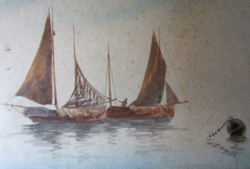 Fishing Boats off the Coast, watercolour on paper, signed Leslie Stanhope. c1900. Detail.