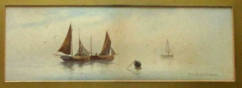 Fishing Boats off the Coast, watercolour on paper, signed Leslie Stanhope. c1900.
