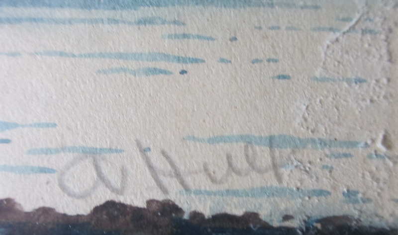 Fishing Boats off Combe Martin, North Devon, watercolour on paper, signed A. Hulk. c1880. Detail.