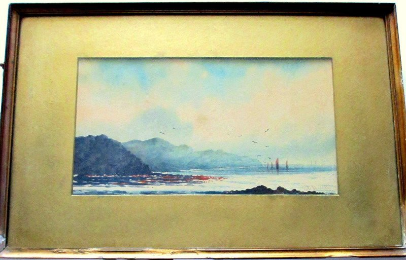 Fishing Boats off Combe Martin, North Devon, watercolour on paper, signed A. Hulk. c1880.