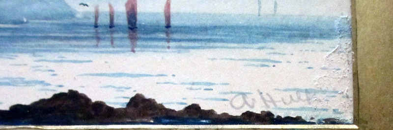 Fishing Boats off Combe Martin, North Devon, watercolour on paper, signed A. Hulk. c1880. Detail. Signature.