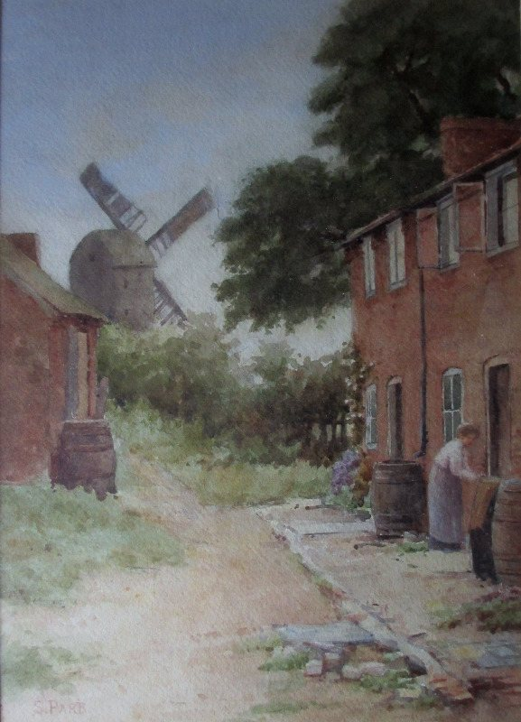 Sneinton Windmill, Nottingham, watercolour on paper, signed S. Parr. c1880.
