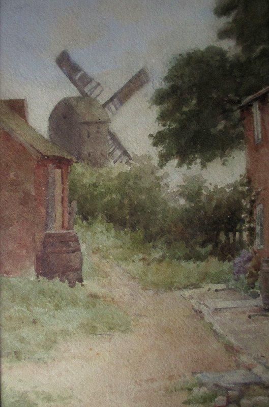 Sneinton Windmill, Nottingham, watercolour on paper, signed S. Parr. c1880. Detail.