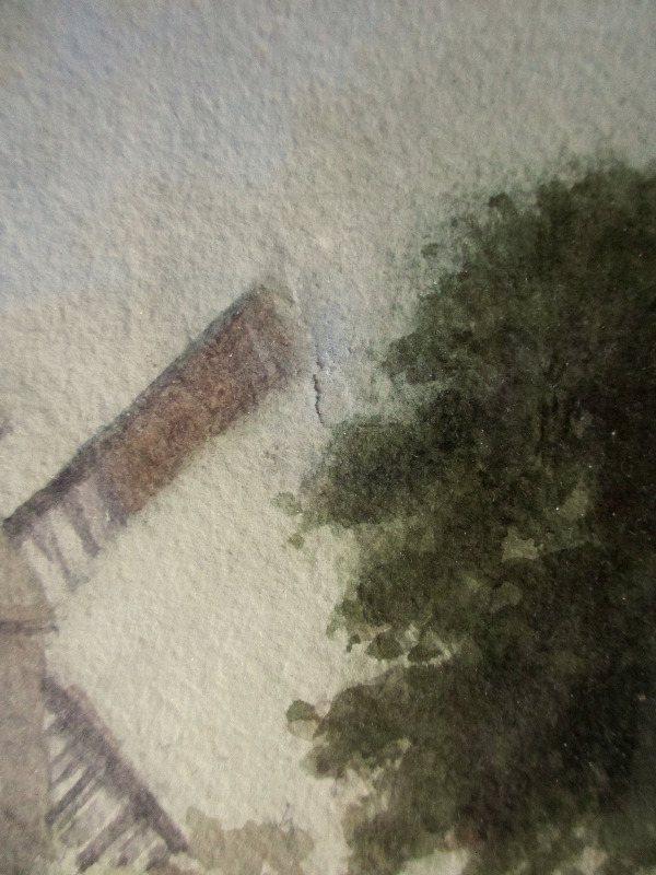 Sneinton Windmill, Nottingham, watercolour on paper, signed S. Parr. c1880. Detail. Restoration work.