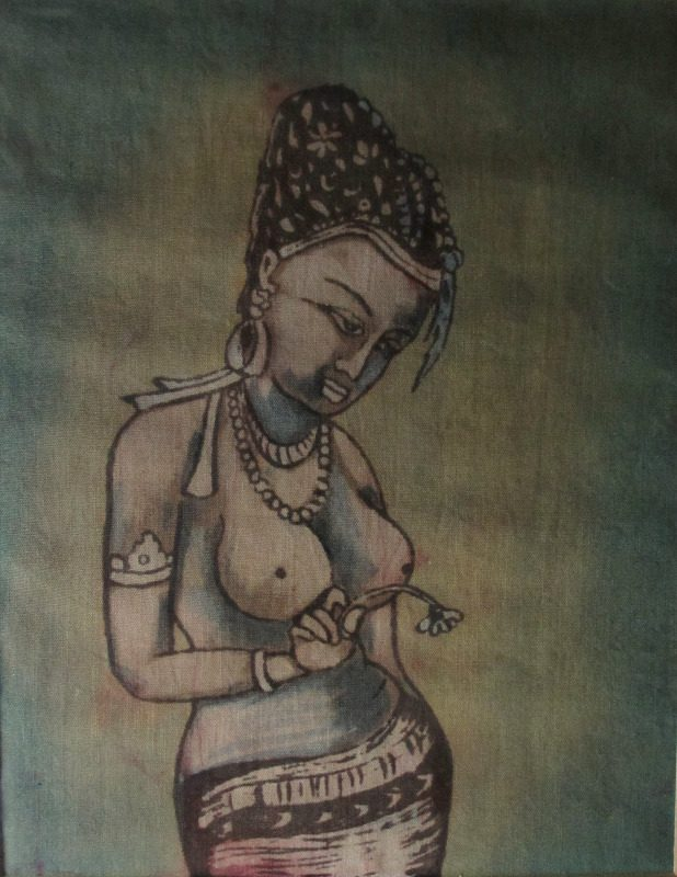 Sorrow. woodblock on silk, India. c1970.