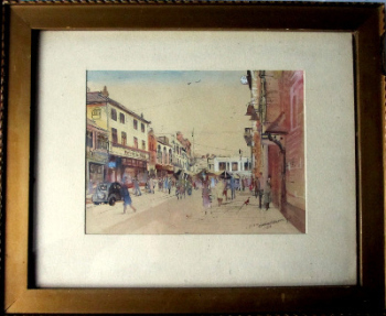 Loughborough Town Centre, watercolour, pen and ink on paper, signed L. Allsop 1940.