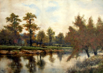 On the Severn near Shawley Wood, Worcestershire. Watercolour on paper, signed Wiggs Kinnaird 1893.