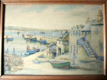 Newlyn Harbour, watercolour on Arne board, signed TH Victor, c1960.