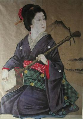 Geisha with Fujiyama, watercolour and gouache on silk. c1960. Framed and gl