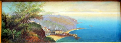 Clovelly, North Devon, gouache on paper, signed Roland Stead. c1920.