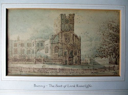 BUNNY - THE SEAT OF LORD RANCLIFFE WATERCOLOUR SIGNED AP DATE 1835