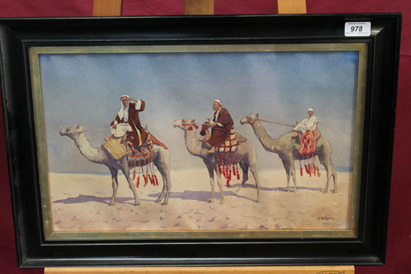 Barbaro 3 camels, watercolour.