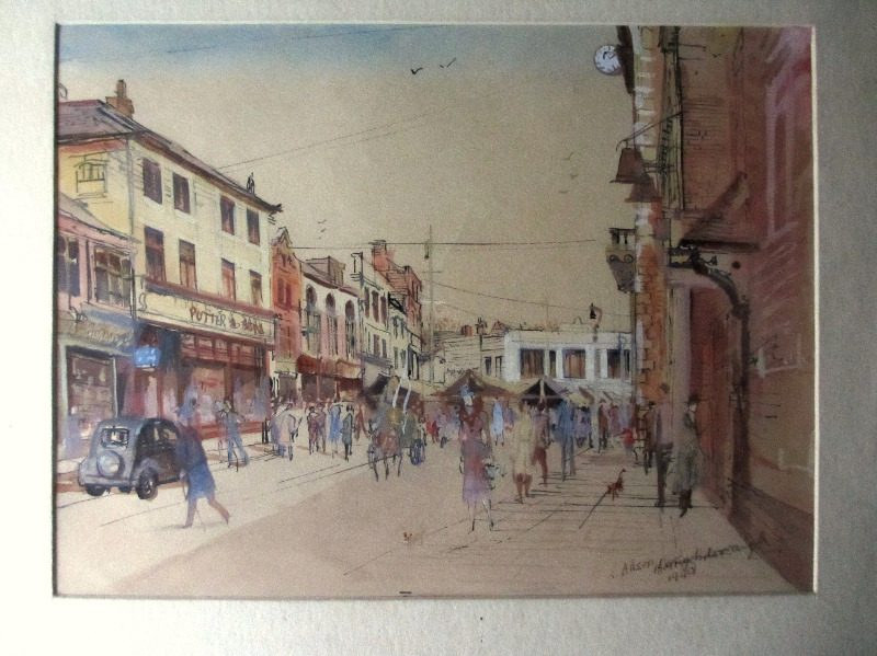 Loughborough Town Centre, watercolour, pen and ink on paper, signed L. Allsop, titled and dated 1940.