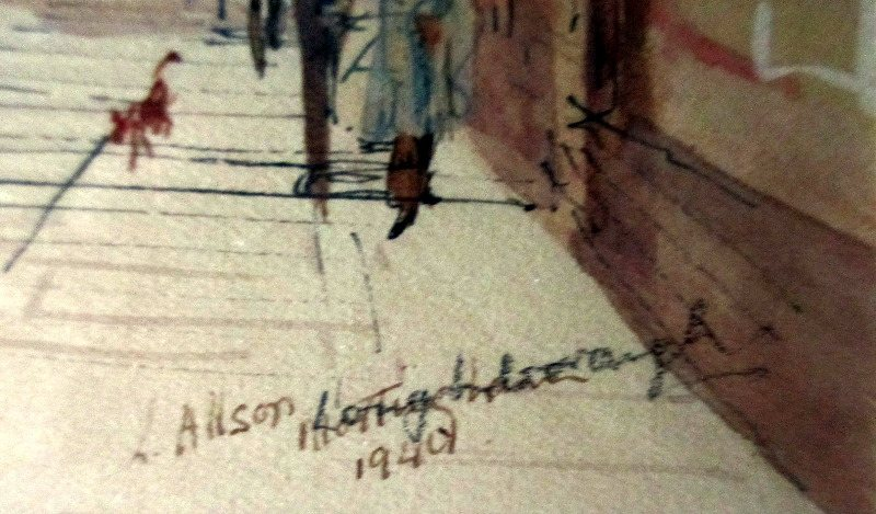 Loughborough Town Centre, watercolour, pen and ink on paper, signed L. Allsop, titled and dated 1940. Detail. Signature, title and date.