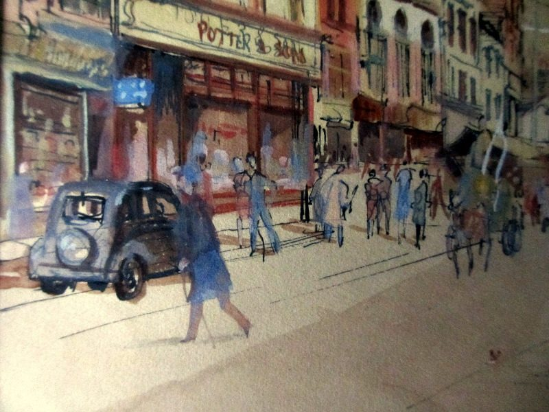 Loughborough Town Centre, watercolour, pen and ink on paper, signed L. Allsop, titled and dated 1940. Detail.