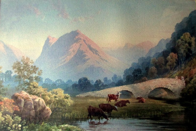 Evening River Landscape with Cattle, watercolour on paper, attributed to Edwin Earp. c1900.