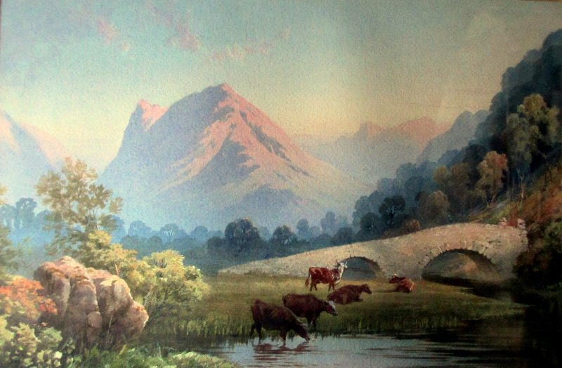 Evening River Landscape with Cattle, watercolour on paper, attributed to Edwin Earp. c1900. Detail.