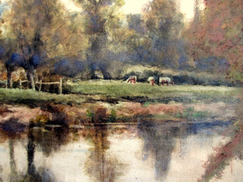 On the Severn near Shawley Wood, Worcestershire, watercolour on paper, signed Wiggs Kinnaird 1893. Detail.