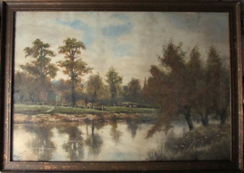 On the Severn near Shawley Wood, Worcestershire, watercolour on paper, signed Wiggs Kinnaird 1893. Detail. Framed.