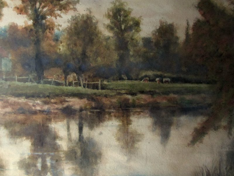 On the Severn near Shawley Wood, Worcestershire, watercolour on paper, signed Wiggs Kinnaird 1893. Detail. Viewed thru glazing.