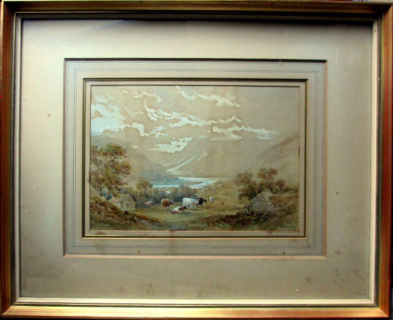 Cattle grazing in lakeside scene, watercolour on paper, signed H. Earp Senr. c1880.
