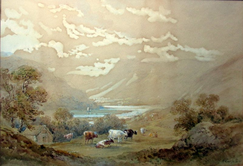 Cattle grazing in lakeside scene, watercolour on paper, signed H. Earp Senr. c1880. Detail.