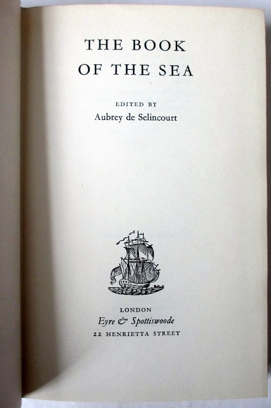 The Book of the Sea, edited by Aubrey de Selincourt, 1961. Title.