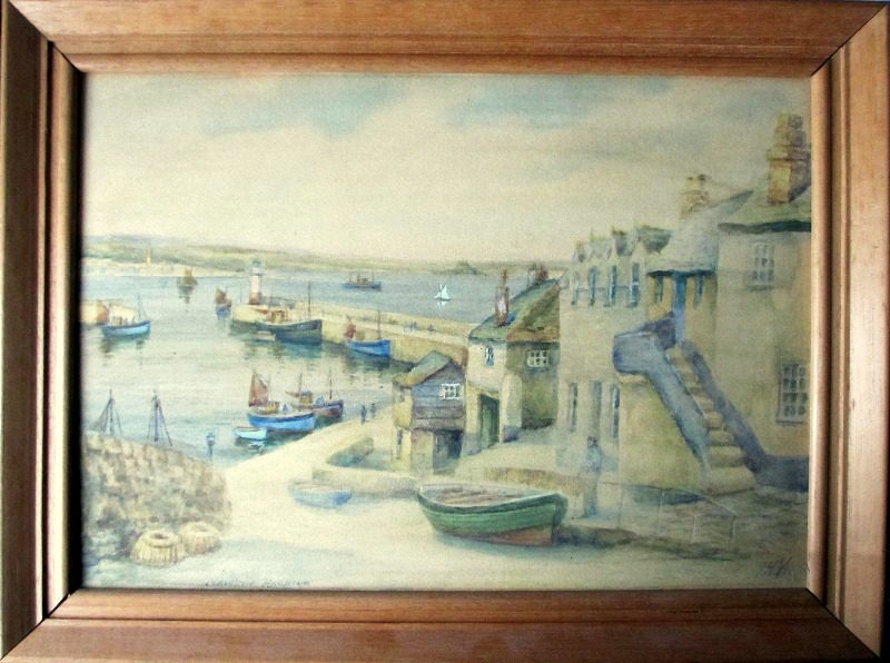 Newlyn Harbour, watercolour, signed TH Victor. c1950.