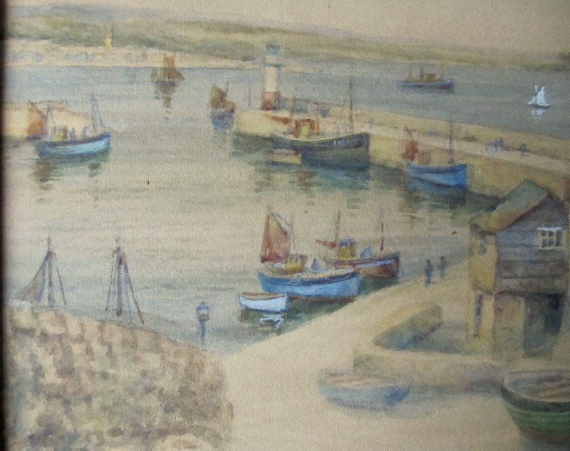 Newlyn Harbour, watercolour, signed TH Victor. c1950. Detail.
