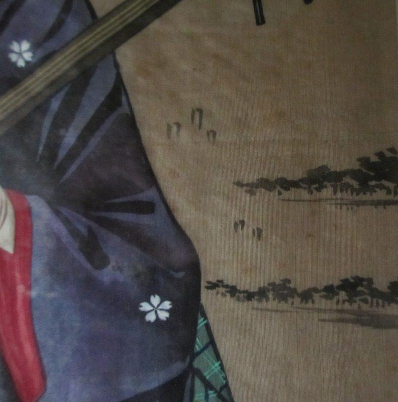 Geisha and Fujiyama, watercolour and gouache on silk. c1960. Detail.