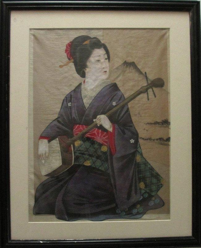 Geisha and Fujiyama, watercolour and gouache on silk. c1960.