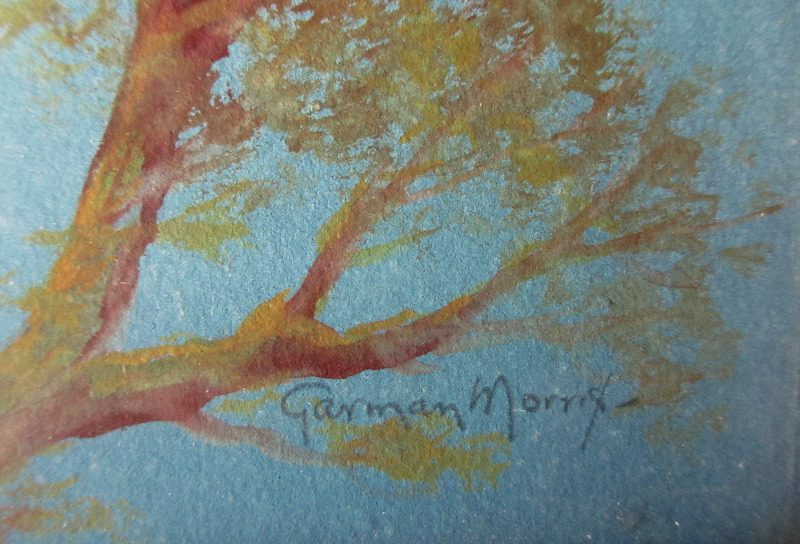 Clovelly, watercolour and gouache on paper, signed Garman Morris c1900. Detail. Signature.