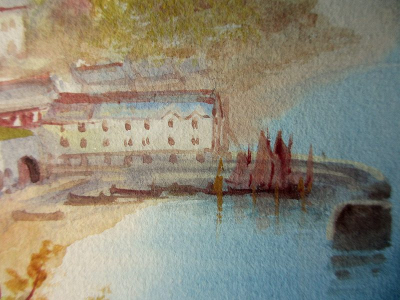 Clovelly, watercolour and gouache on paper, signed Garman Morris c1900. Detail.