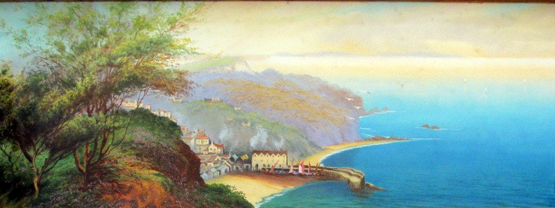Clovelly, gouache on paper, signed Roland Stead. c1920.