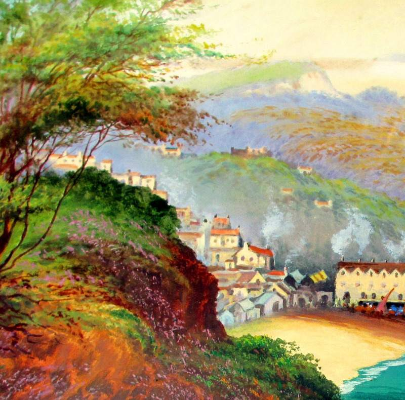 Clovelly, gouache on paper, signed Roland Stead. c1920. Detail.