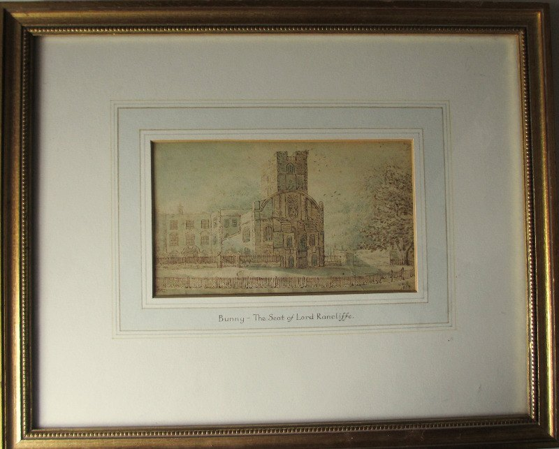 Bunny - The Seat of Lord Rancliffe, watercolour on paper, signed initials AP. 1835.