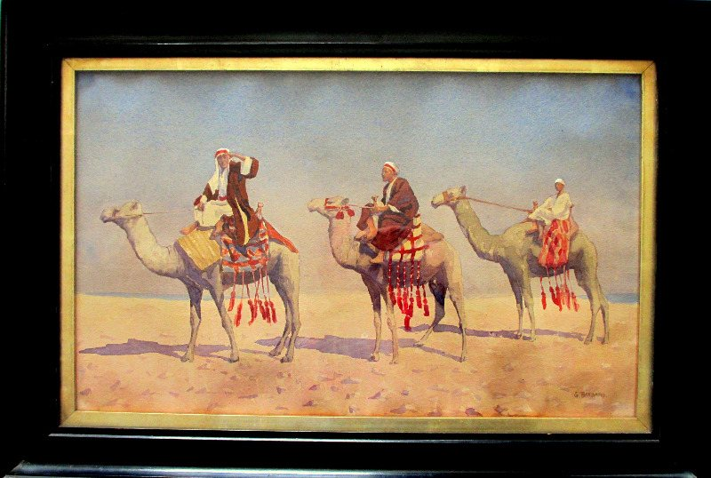 Barbaro, 3 Camels and Riders, watercolour, c1910.